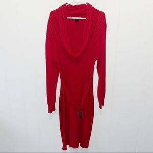 Ashley Stewart Red Belted Cowl Neck Sweater Dress